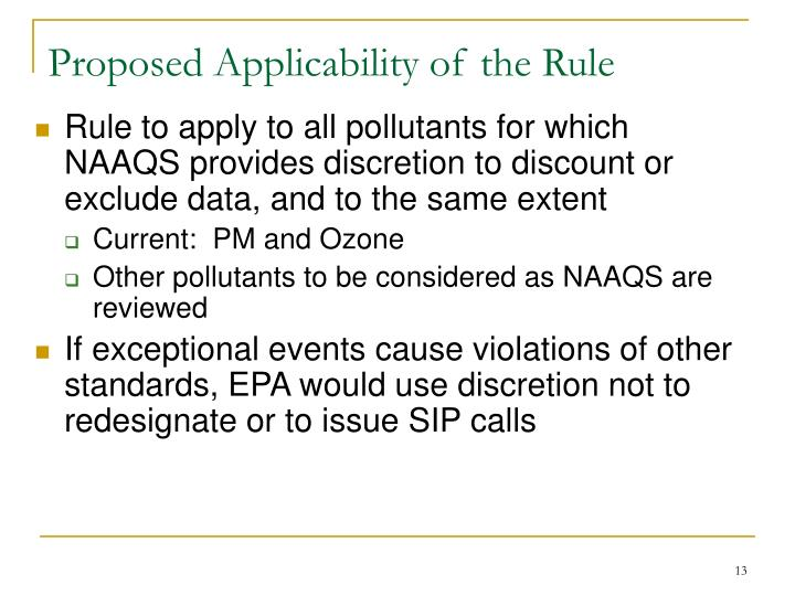 Proposed Applicability of the Rule
