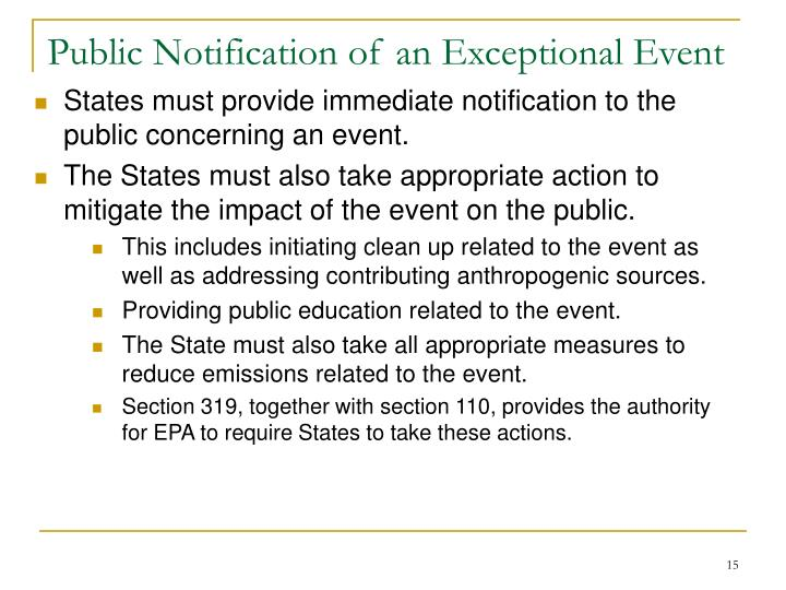 Public Notification of an Exceptional Event