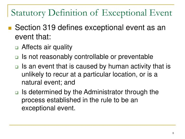 Statutory Definition of Exceptional Event