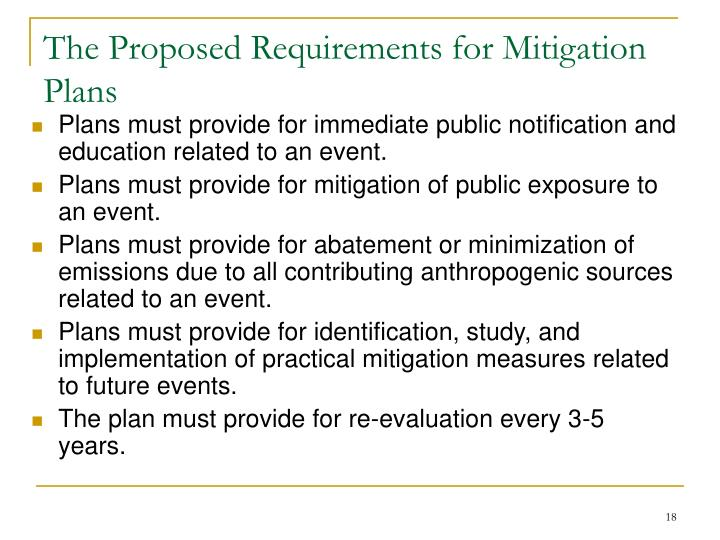 The Proposed Requirements for Mitigation Plans