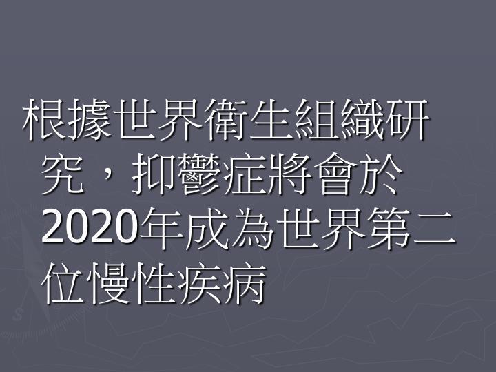根據世界衛生組織研究,抑鬱症將會於2020年成為世界第二位慢性疾病