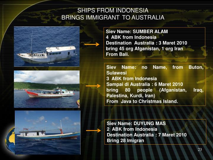 SHIPS FROM INDONESIA