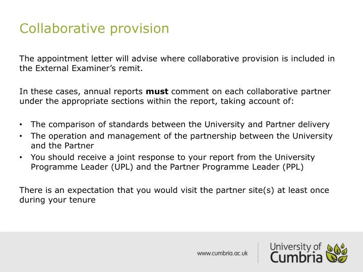 Collaborative provision