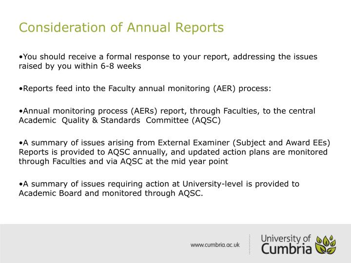 Consideration of Annual Reports