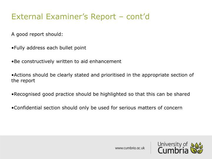 External Examiner's Report – cont'd