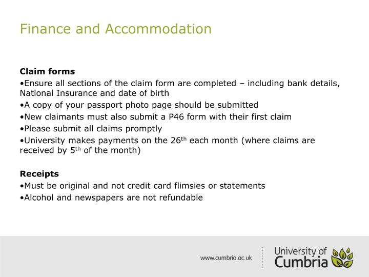 Finance and Accommodation