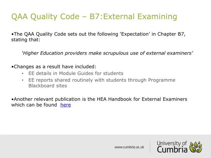 QAA Quality Code – B7:External Examining