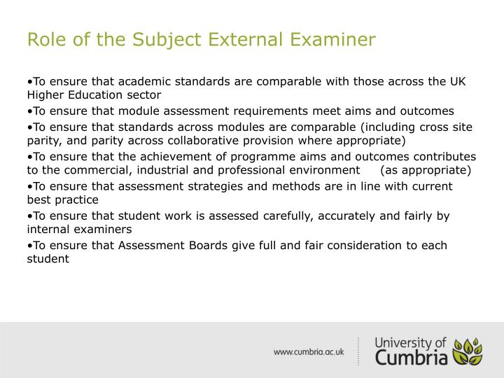 Role of the Subject External Examiner