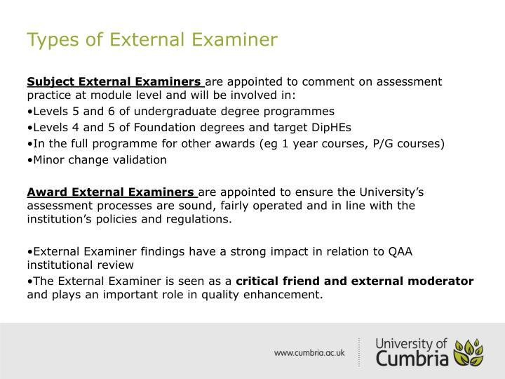 Types of External Examiner