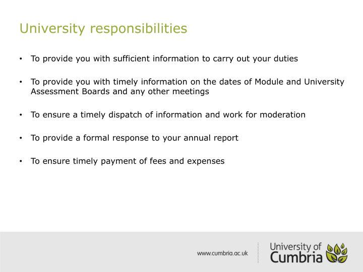 University responsibilities