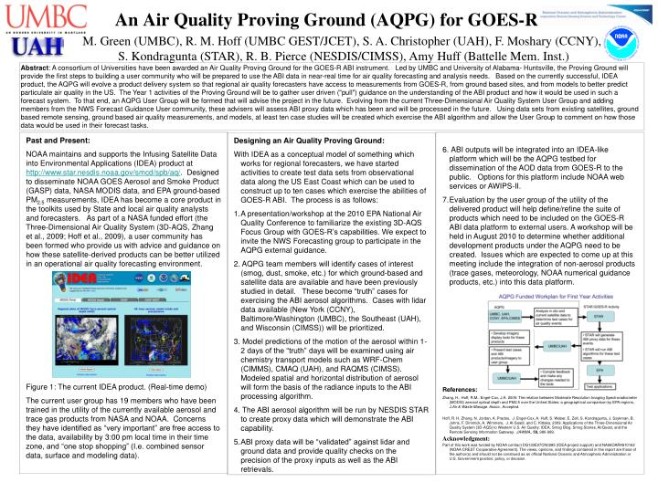 an air quality proving ground aqpg for goes r