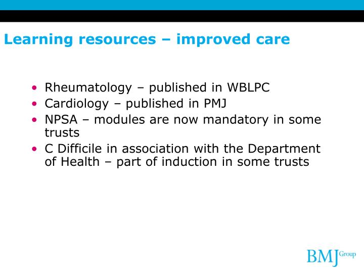 Learning resources – improved care