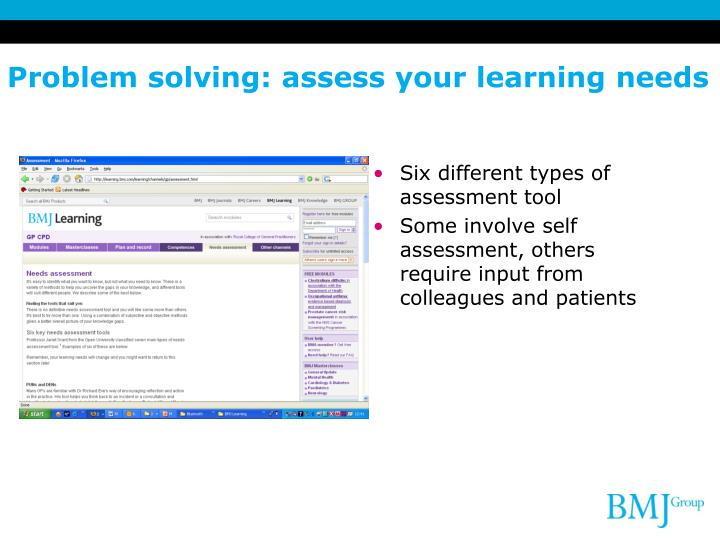 Problem solving: assess your learning needs