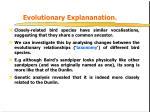 evolutionary explananation