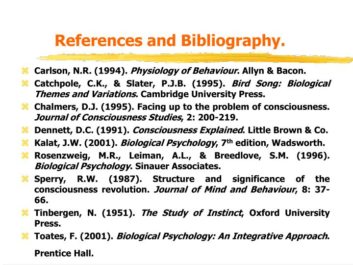 References and Bibliography.