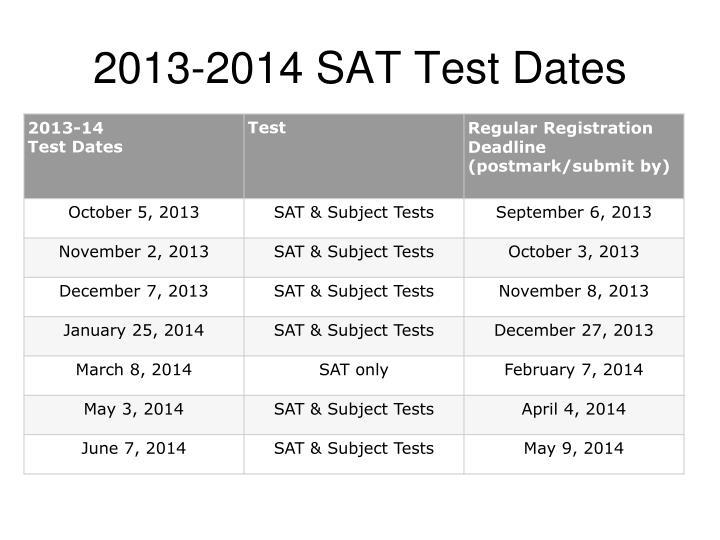 2013-2014 SAT Test Dates