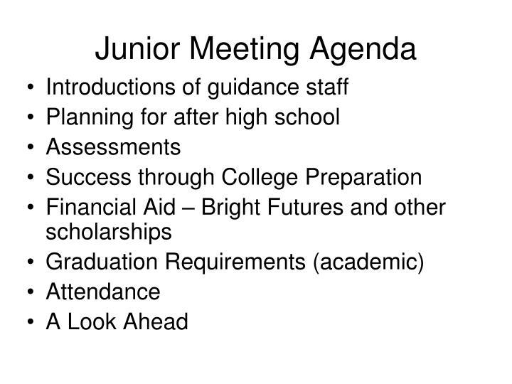 Junior Meeting Agenda