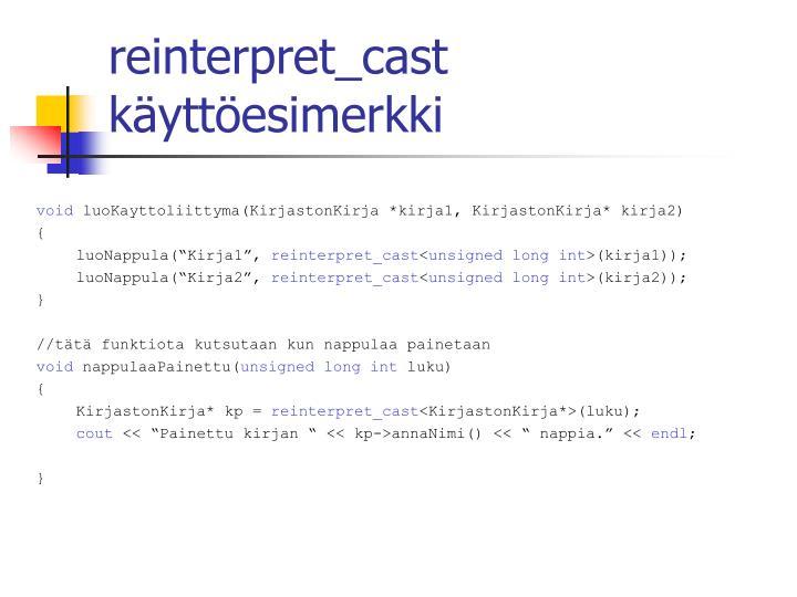 reinterpret_cast käyttöesimerkki