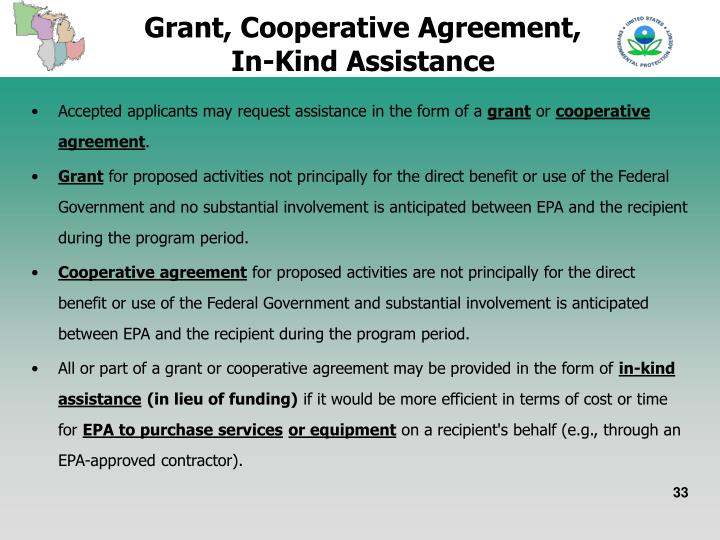 Grant, Cooperative Agreement, In-Kind Assistance