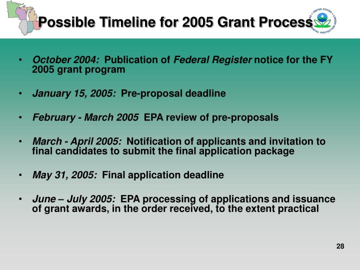 Possible Timeline for 2005 Grant Process