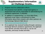 supplementary information on challenge grants