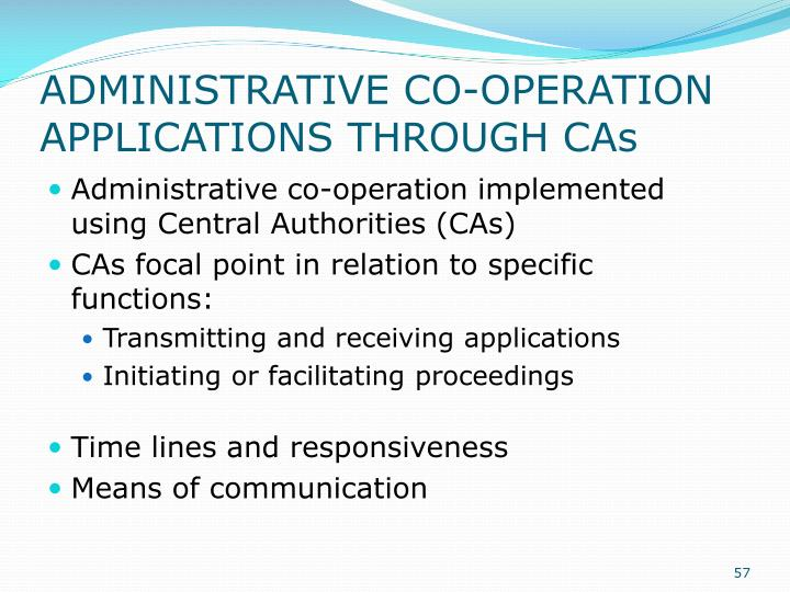 ADMINISTRATIVE CO-OPERATION