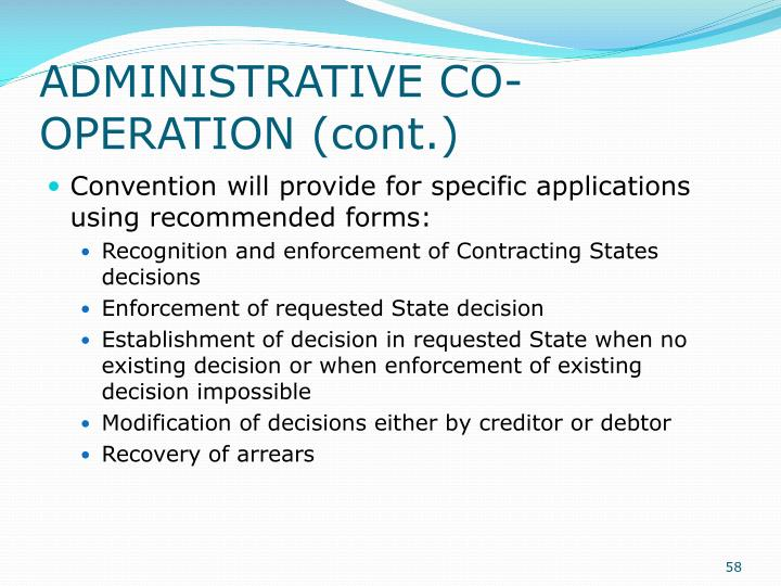 ADMINISTRATIVE CO-OPERATION (cont.)