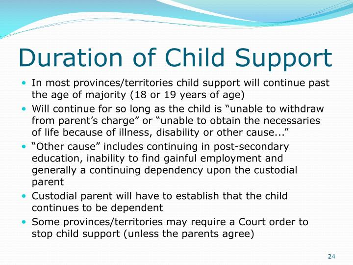 Duration of Child Support