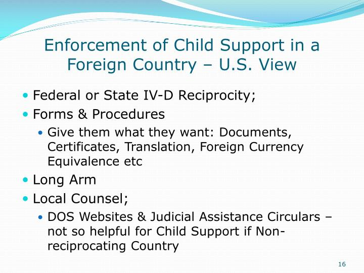 Enforcement of Child Support in a Foreign Country – U.S. View