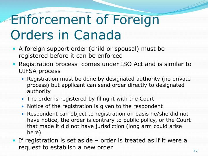 Enforcement of Foreign Orders in Canada