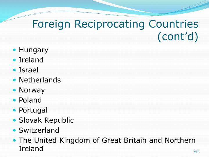 Foreign Reciprocating Countries (cont'd)