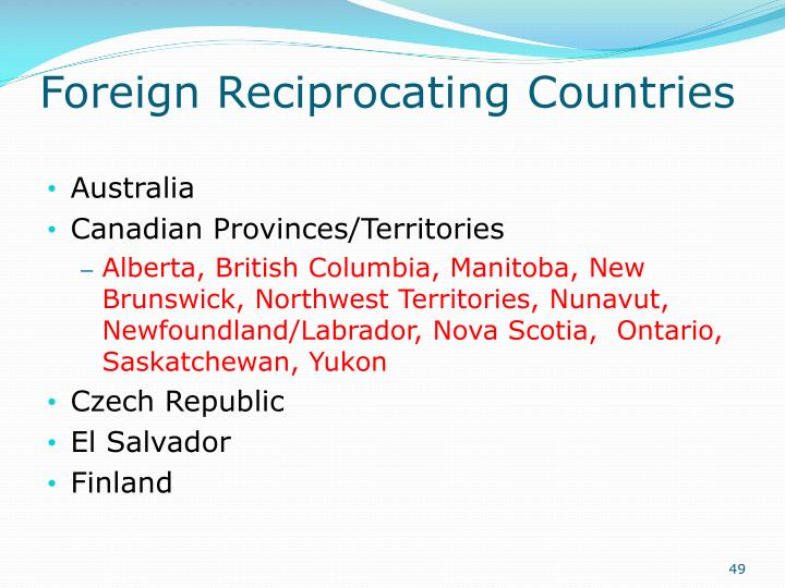 Foreign Reciprocating Countries