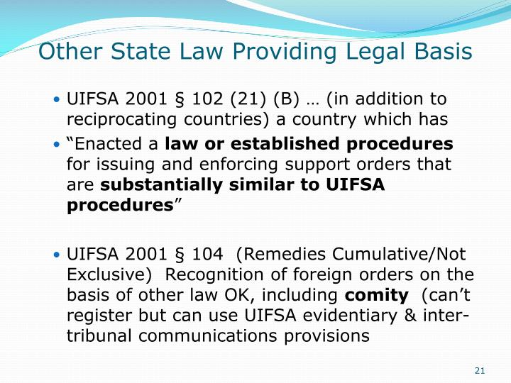 Other State Law Providing Legal Basis