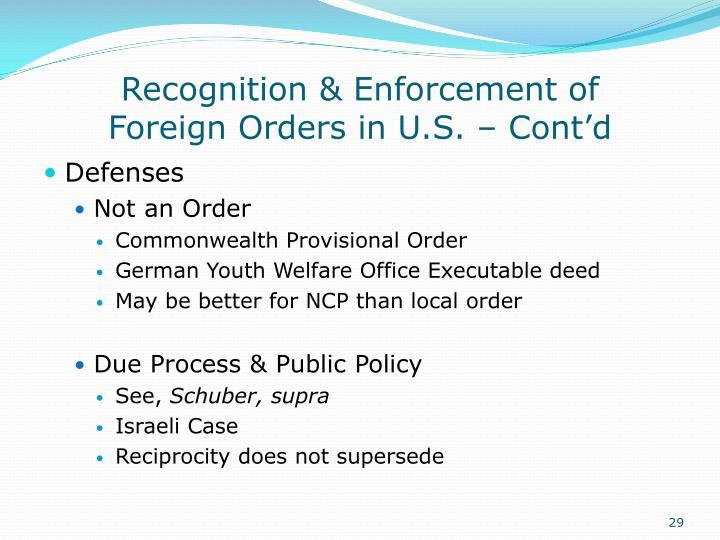 Recognition & Enforcement of