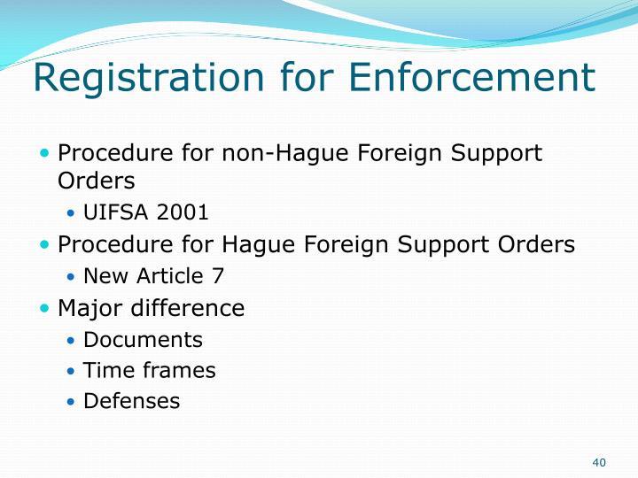 Registration for Enforcement