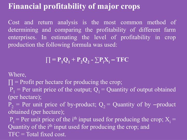 Financial profitability of major crops