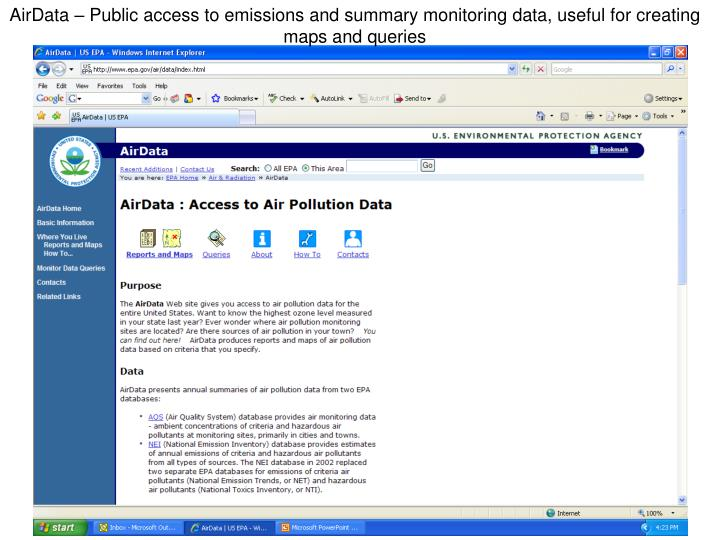 AirData – Public access to emissions and summary monitoring data, useful for creating maps and queries