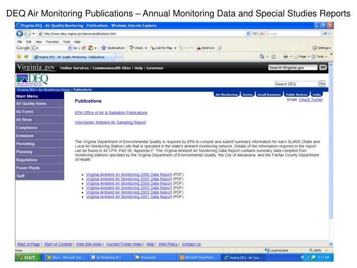 DEQ Air Monitoring Publications – Annual Monitoring Data and Special Studies Reports