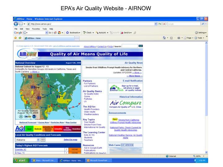 EPA's Air Quality Website - AIRNOW