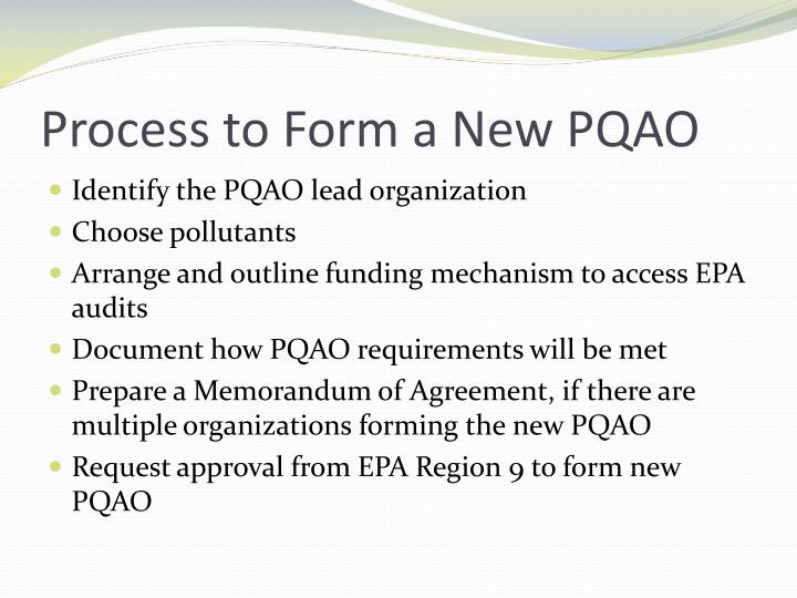 Process to Form a New PQAO