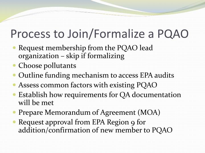 Process to Join/Formalize a PQAO
