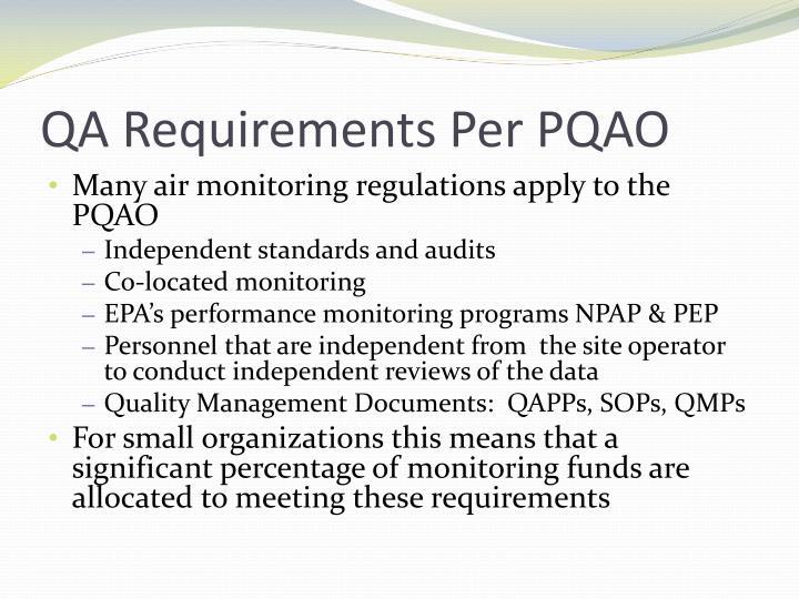QA Requirements Per PQAO