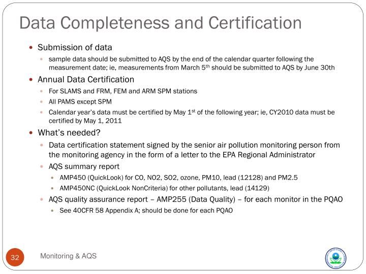 Data Completeness and Certification