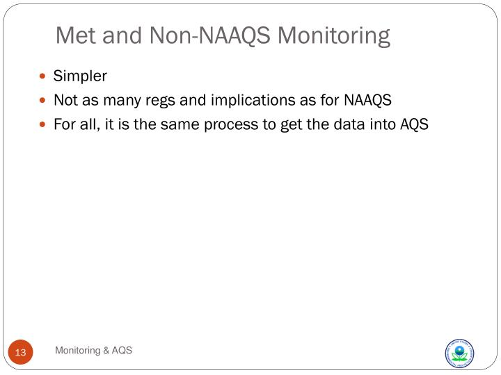 Met and Non-NAAQS Monitoring