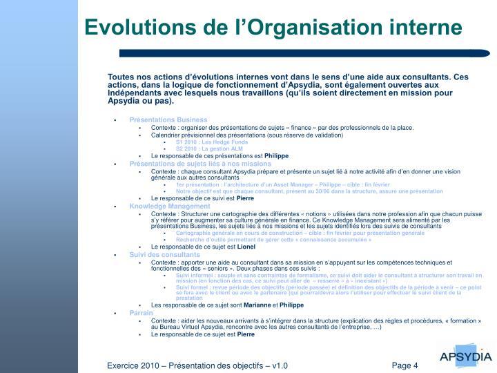 Evolutions de l'Organisation interne