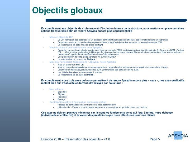 Objectifs globaux