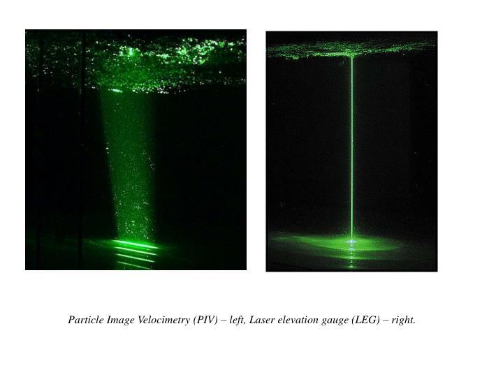 Particle Image Velocimetry (PIV) – left, Laser elevation gauge (LEG) – right.