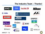 the industry team thanks