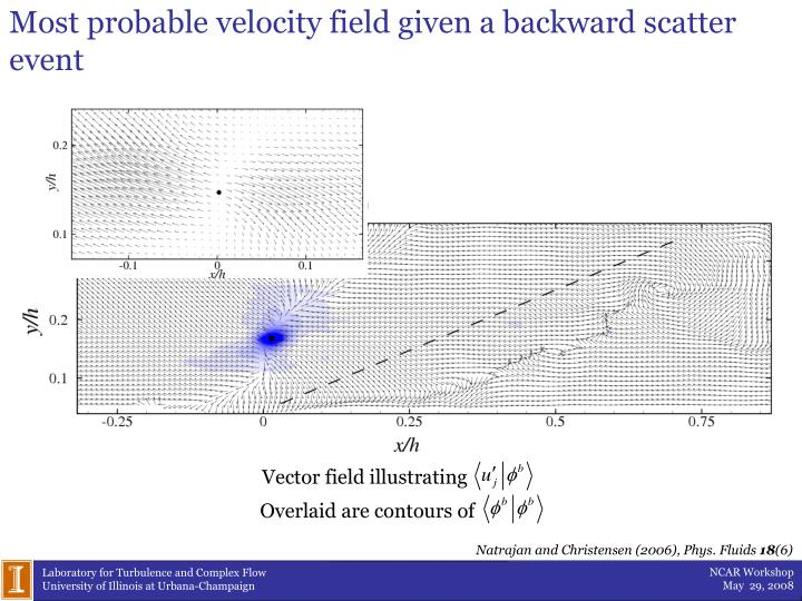 Most probable velocity field given a backward scatter event