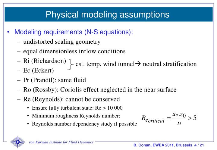 Physical modeling assumptions
